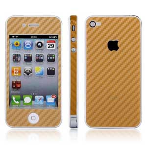 Carbon наклейка на iPhone 4 (золотой цвет) - Защитная наклейка  - карбоновая ткань класса Люкс! Легко клеится!