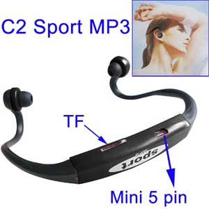 MP3 Player спорт (черный) - MP3 Player спорт. Невесомый и удобный МР3-плеер, надежно сидит на голове и дает полную свободу.