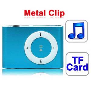 Mp3 плеер с металлическим зажимом (синий) - Тип подключения: USB 2.0. Отсутствие памяти встроенная, только поддержка дополнительных TF (Micro SD), Макс 8GB. Разъем для наушников: 3,5 мм стерео разъем. Совместимые операционные системы: Microsoft Windows 98 / ME / 2000 / XP, Windows Vista, Windows 7  Тип батареи: Встроенный аккумулятор Литий-ионный 3.7V/120mAh. Размер: 41.2x27.85x12.38mm. Вес: 15g
