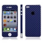 Carbon наклейка на iPhone 4 (синий) - Защитная наклейка  - карбоновая ткань класса Люкс! Легко клеится!