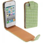 Кожаный чехол iPhone 4/4s  зеленый крокодил
