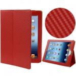 Карбон чехол для iPad 2/iPad 3 Красный  Sleep